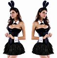 Vocole Women Sexy Playful Black Bunny Rabbit Costume Cosplay Corset Skirt Set Overbust Halloween Hen Party Fancy Dress S-XXL
