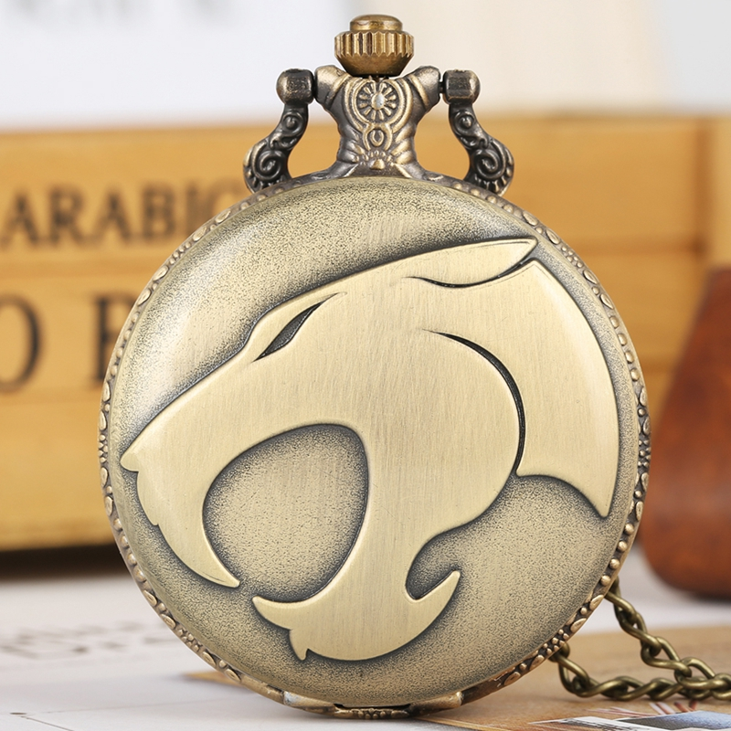 Fiercely Animal Leopard Head Figure Quartz Pocket Watch Retro Necklace Bronze Pendant Chain Watch FOB Clocks Reloj De Madera