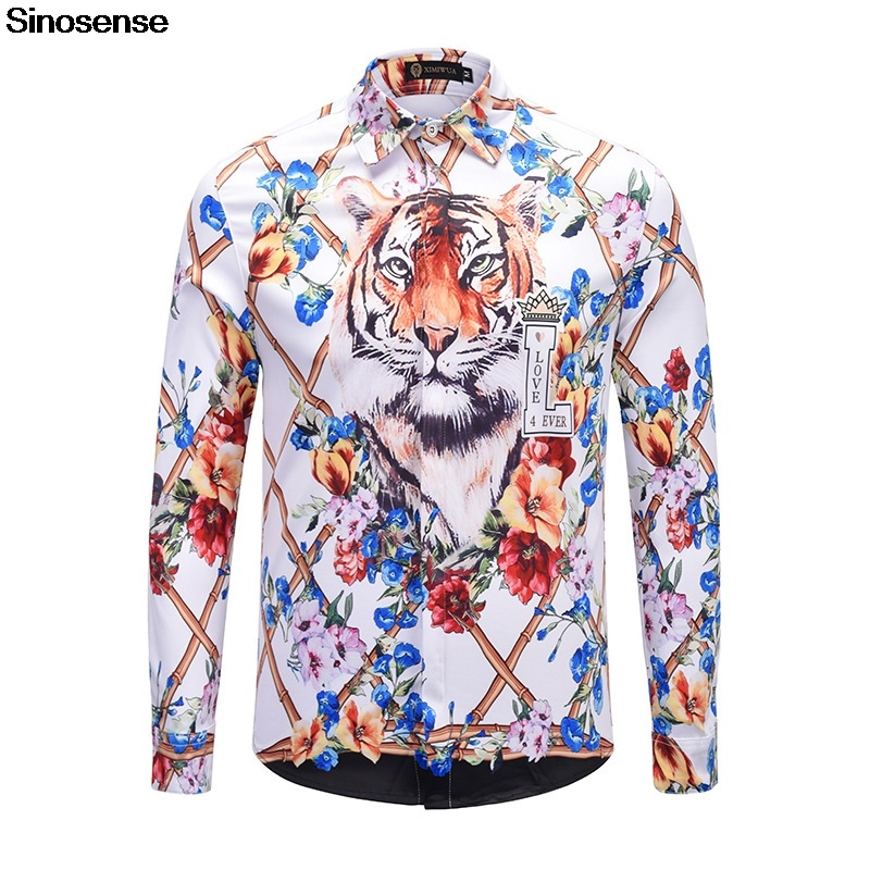 New Fashion Men Shirt 2019 Mens Long Sleeve Luxury Floral Tiger Print Dress Shirt Casual Social