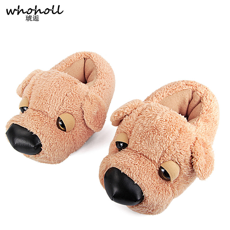 WHOHOLL Winter Fur Slippers Animal Funny Shoes For Men/Women Cartoon Dog Indoor Home Slippers Women Warm Plush Furry Slippers qweek women home animal slippers fur indoor rabbit slippers warm ladies cute funny adult slippers female slide house shoes