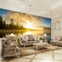 Custom any size  wall mural wallpapers Modern fashion Sunset and trees reflected in the lake Wall sticker YBZ074