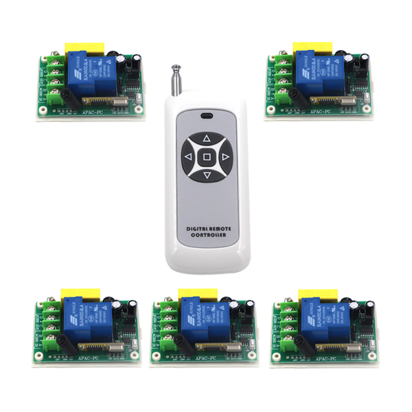 Practical AC 220V 30A 315MHz Remote Control Switch with 5-Button Remote Control SKU: 5242 ac 220v one way remote control power switch 1000w power wireless switch with double button remote control