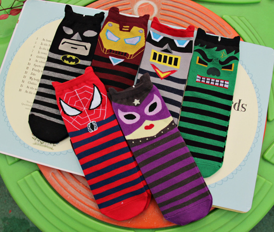 New Superheros Captain America Ironman Spiderman Cute Cartoon Casual ankle cotton   socks   slippers harajuku EUR39-44
