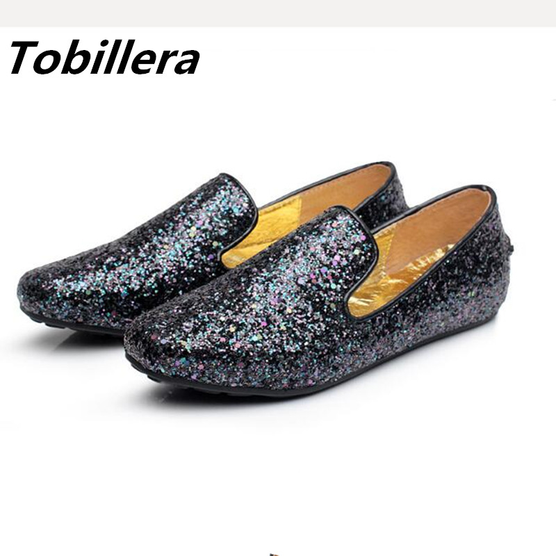 Tobillera Spring Autumn New Glitter Women Sliver Black Flats Round Toe Slip On Ladies Fashion Big Size 42 Casual Shoes gold sliver shoes woman for 2016 new spring glitter bling pointed toe flats women shoes for summer size plus 35 40 xwd1841