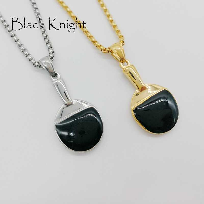 Black Knight mens sports gym table tennis bat pendant necklace fashion stainless steel table tennis necklace fashion BLKN0660