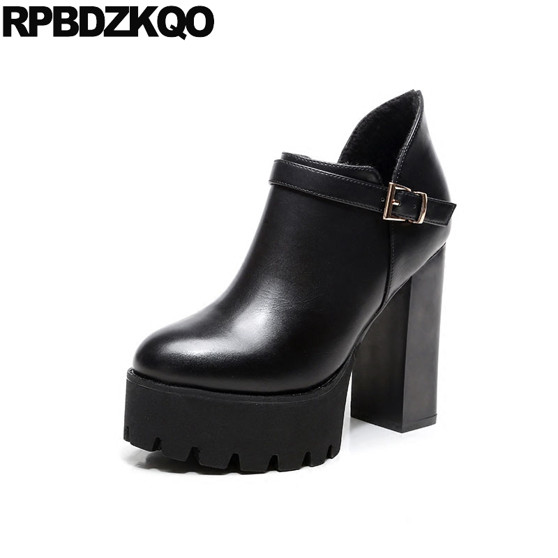 Sexy Round Toe Fur Waterproof Extreme Fetish Women Black Booties Side Zip Boots Block Shoes Chunky Fashion Platform Ankle ankle shoes autumn booties 2017 strange front lace up casual boots chunky round toe fetish platform white ladies chinese fashion