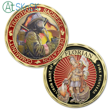 1-10pcs Newest design spray painted antique challenge coins souvenir St Florian Fire Fighter commemorative for collection