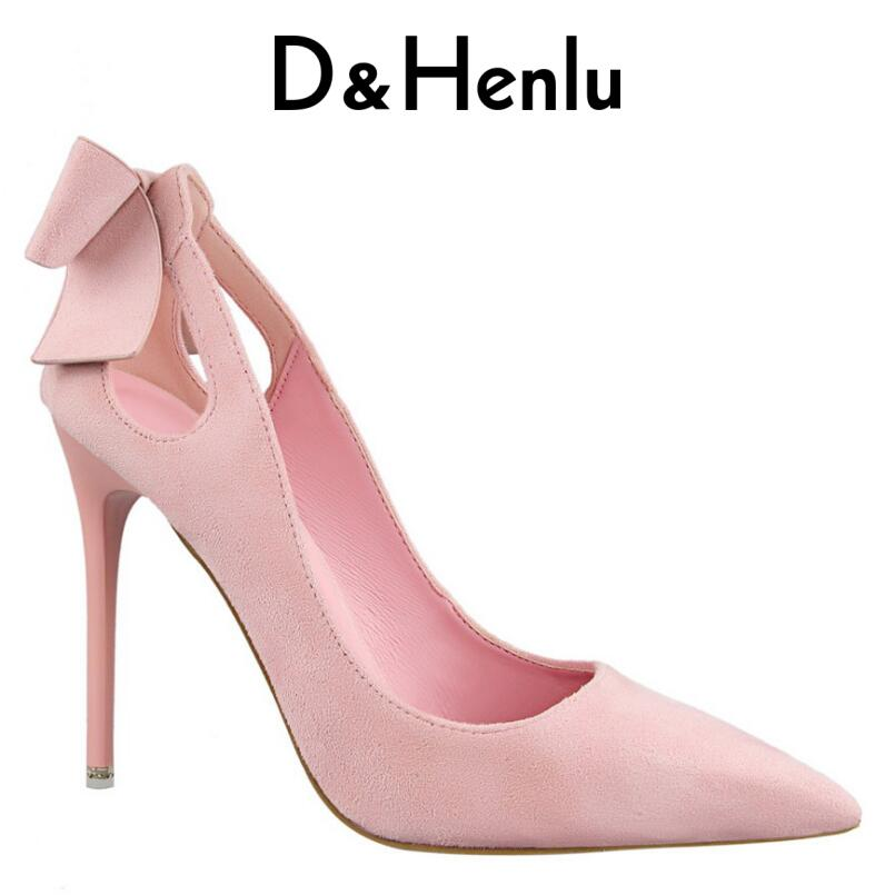 D&Henlu Brand Shoes Bow Woman High Heels Women Pumps Hollow Stiletto Thin Heel Pointed Toe High Heels Wedding Shoes Woman high quality suede wedding party dress shoes women pointed toe stiletto brand pumps bow fringe embellished high brands