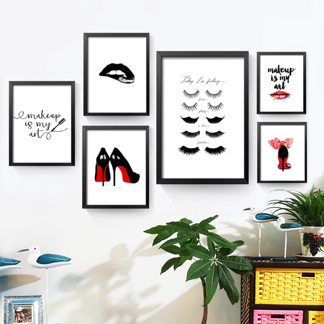 Charming Fashion MakeUp Is My Art Wall Canvas Painting Home Decor Today I Am Feeling Wall  Art