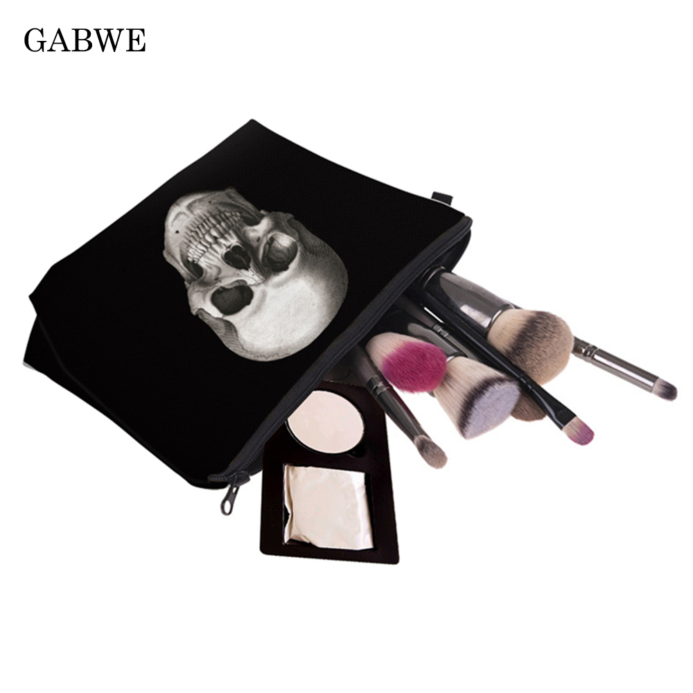 GABWE Printed Galaxy Make Up White Skull Pattern Makeup Brush Organizer Double Layer Pattern Cosmetic PouchTravel Bag Organizer