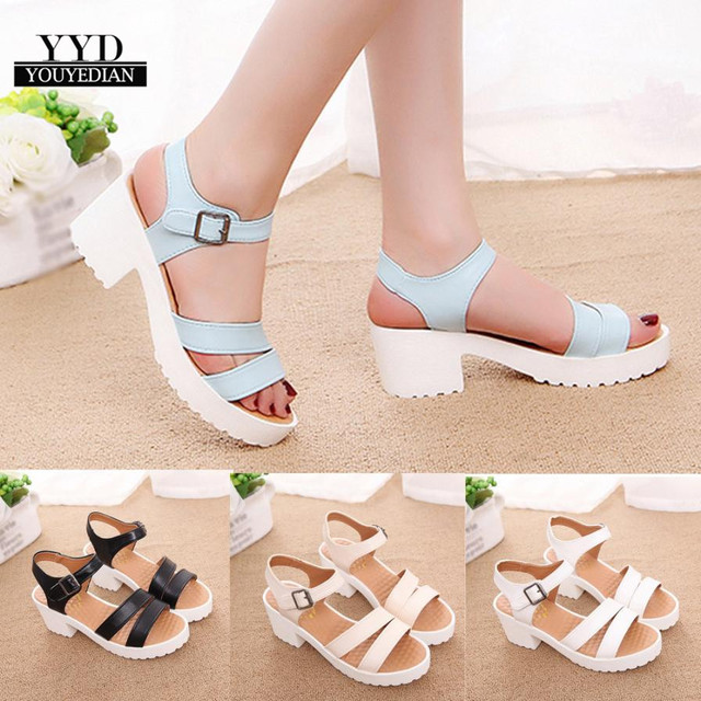 YOUYEDIAN Fashion Ankle Strap Buckle Women Sandals High-heeled Open Toe  Thick Platform Summer Shoes Big Size Women Shoes  35 805b735dde02