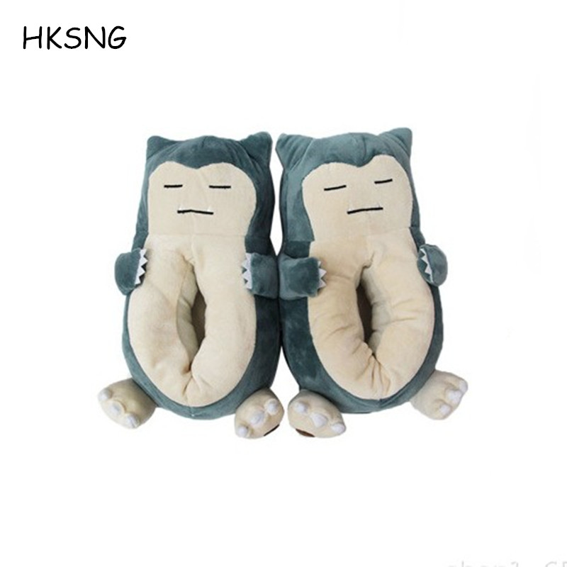 HKSNG Winter Warm Snorlax Home Slippers Kigurumi Cartoon Pet Elf Beast Animal Chausson Adult Funny Pokemon Indoor Shoes