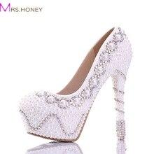 Freies Verschiffen 2016 Weiße Perle Wunderschöne Hochzeit Schuhe Bunte Brautkleid Schuhe Gute Qualität High Heel Frauen Prom Pumpen