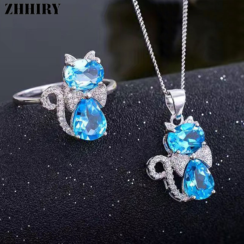 ZHHIRY Real Natural Blue Topaz Jewelry Sets 925 Sterling Silver Ring Necklace Pendant For Women Gemstone Fine Jewelry Cat Shape