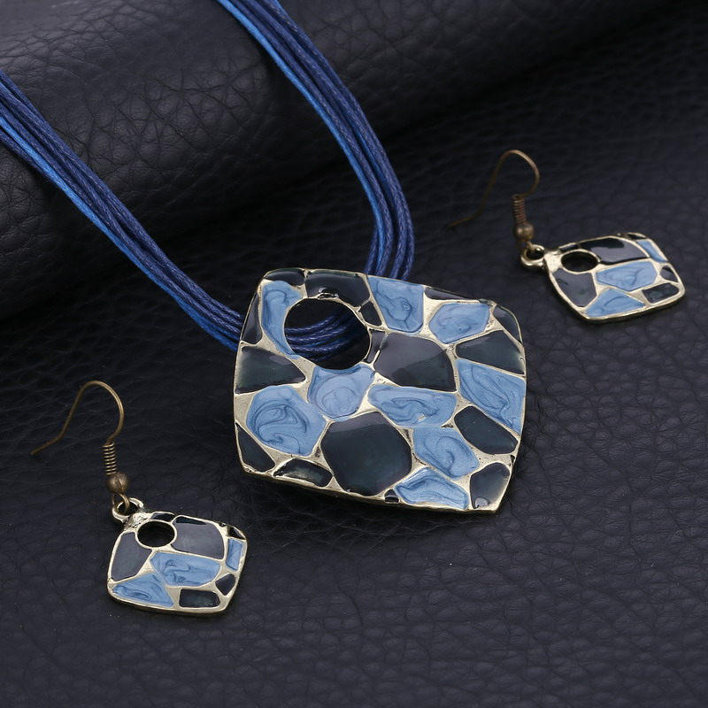 Summer Style Enamel Silver Pendant Jewelry Sets Colorful Multilayer Leather Rope Chain Geometry Choker Necklace Earrings Set
