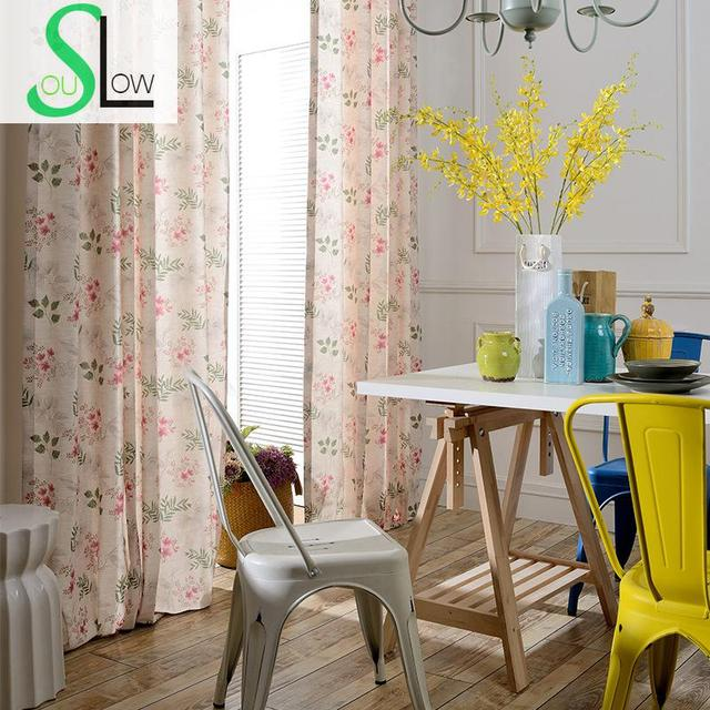 Slow Soul Light Pink Spring Air Printing Modern Window Curtain Fl Curtains For Living Room Cortina Bedroom And Tulle D