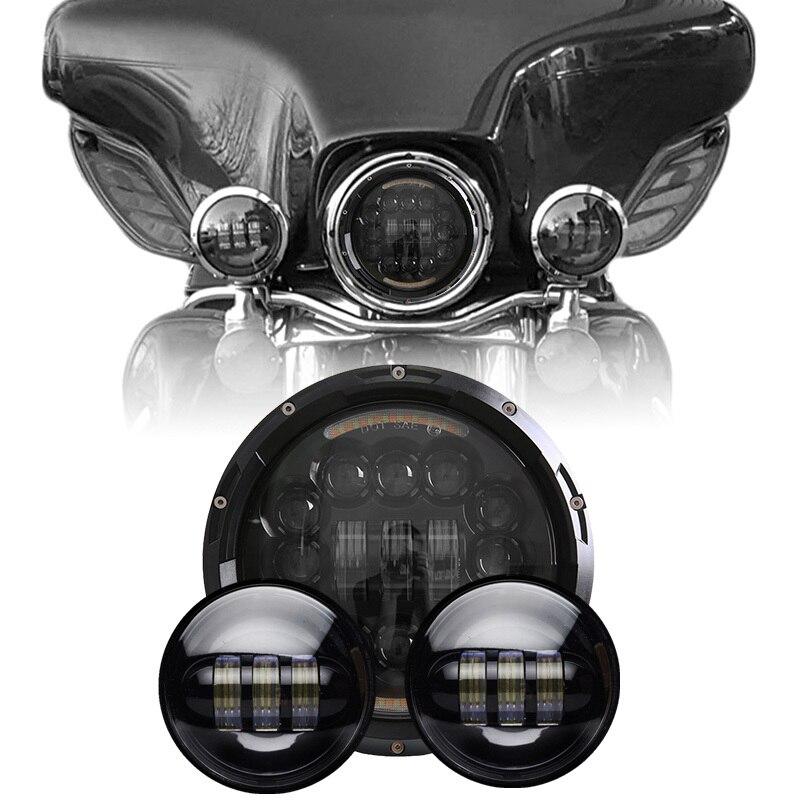 7 inch Car Led Headlight Off road Led Hi/Lo Beam led Auto Headlight + 2PCS LED Passing Light 4.5 inch Halo Fog Lamps For Harley