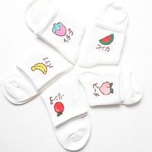 Funny Cute Korean Women Kawaii Cotton Crew Socks Strawberry Banana Pattern Harajuku Casual Novelty Sweet White Happy Art