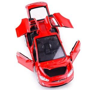 Image 5 - Modèle voiture Tesla X en alliage 1:32, jouet électronique avec feux de Simulation et voiture musicale, idée cadeau pour enfants