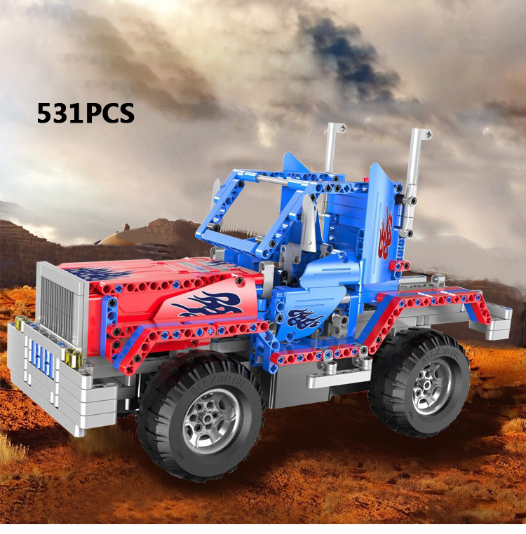 купить Technics 2in1 Transformation Peterbilt Wagon head radio remote control building block Off-road vehicle model bricks rc toys по цене 6372.73 рублей