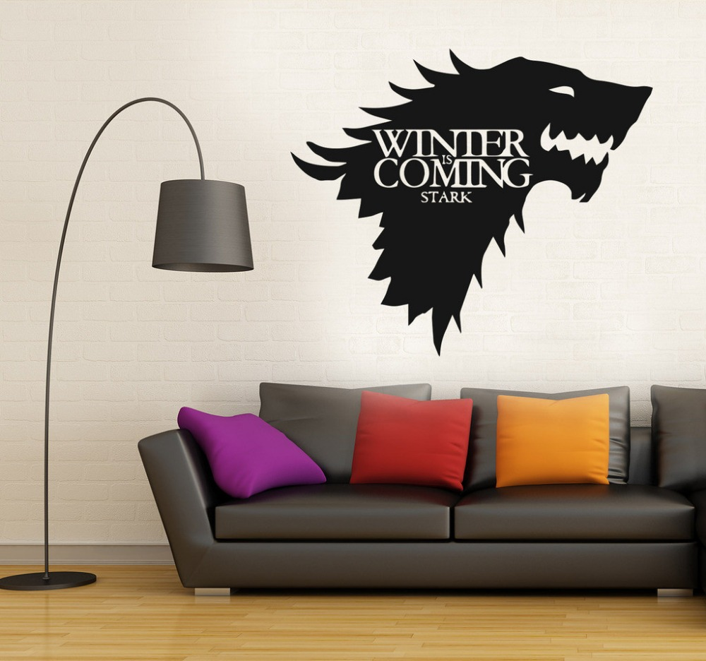 New Removable Game Of Thrones Wolf Wall Decal Stark Winter Is Coming Art Vinyl Home Wall Sticker
