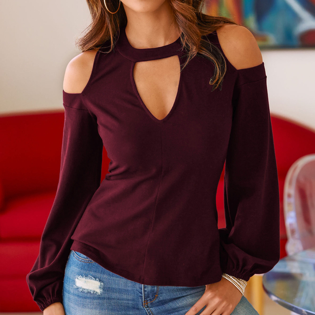 Sexy Off Shoulder Long Sleeve Solid V-Neck Blouse