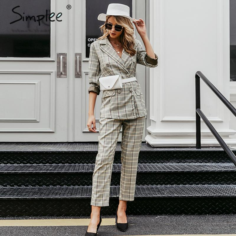 Simplee Plaid double breasted women blazer suit set Long sleeve office ladies pant suits female Casual