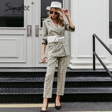 Simplee Plaid double breasted women blazer suit set Long sle