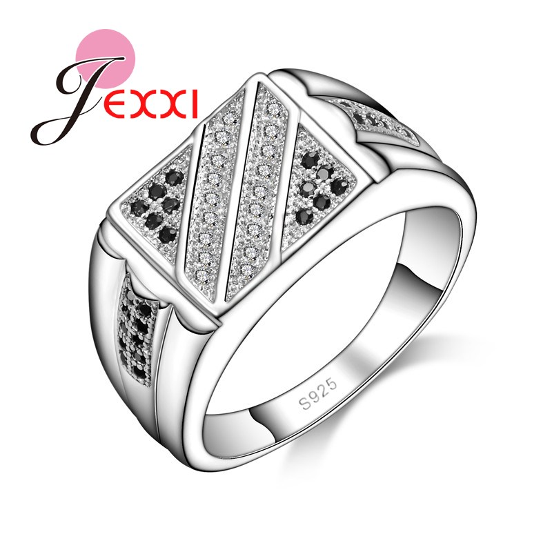 e78f69f3adc7 Jexxi nueva llegada ZIRCON geométrico mujeres dedo rhinestone Anillos  estilo simple unisex partido Accesorios joyería de plata 925