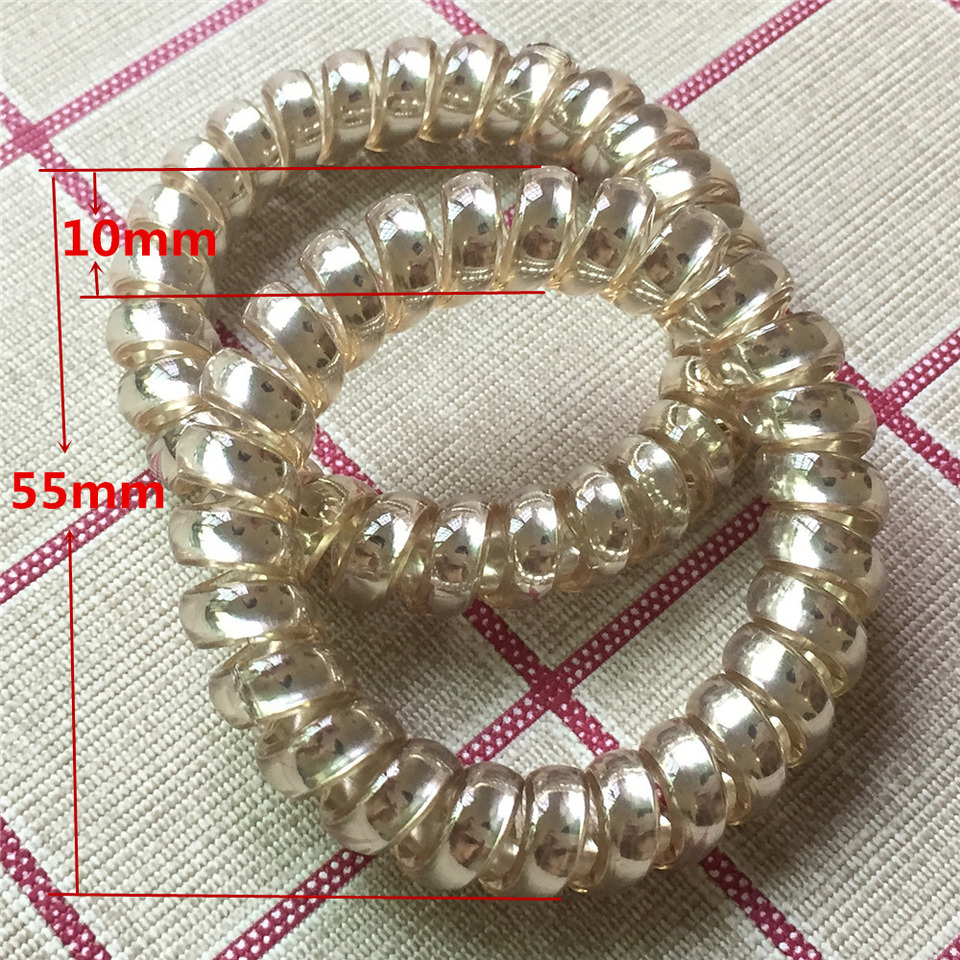 Rose Gold Women Rubber Hair Rope Elastic Hairbands Spiral Shape Hair Ties Headwear Accessories Telephone Wire Line Headband Women S Hair Accessories Aliexpress