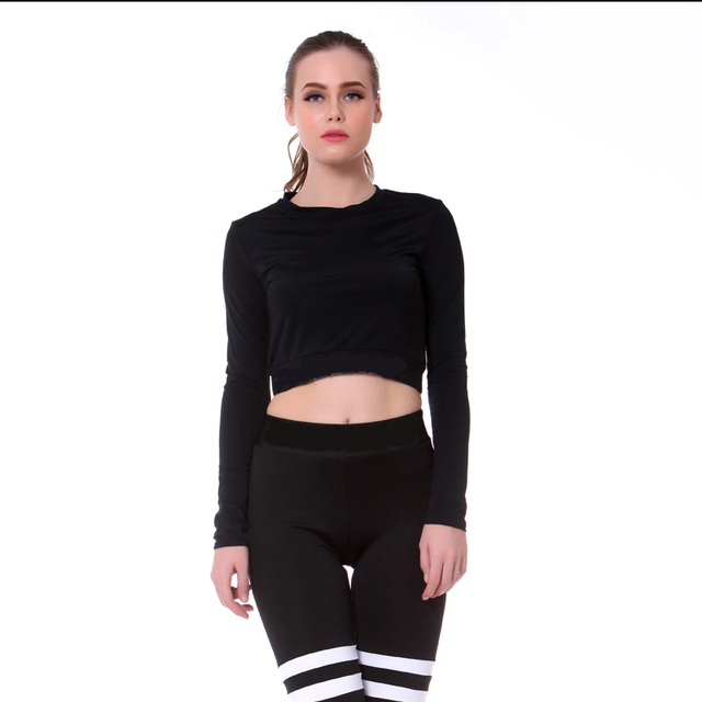 656eb5cd097 Women Cropped Seamless Long Sleeve Top Sports Wear for Women Gym Yoga Shirt  Thumb Hole Fitted Workout Shirts for Women