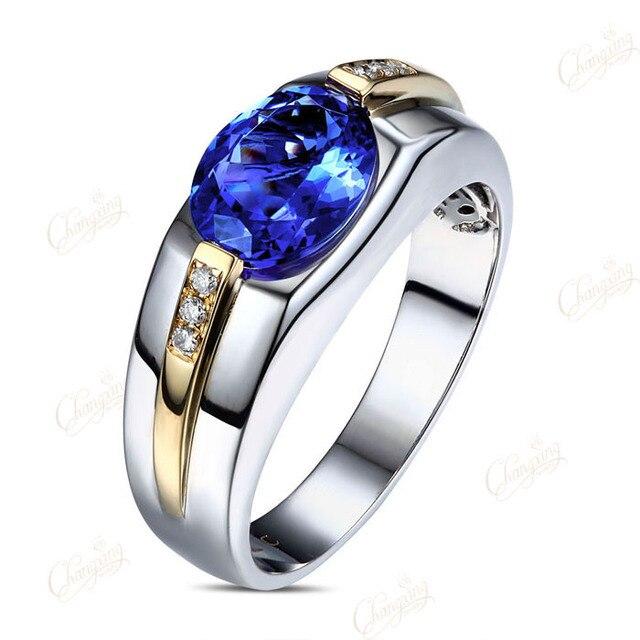 Intermitente Azul Tanzanita 1.85ct AAA Mens Anillo de Bodas de Compromiso de Diamantes 14 k Oro
