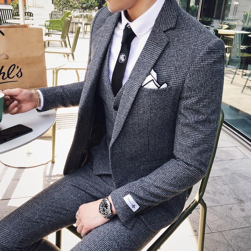 2019 Mens Business Suits Formal Tuxedo Social Suits Mens Casacas Hombre Azul Terno Preto Slim Fit Gray Retro Plaid Suits Mens