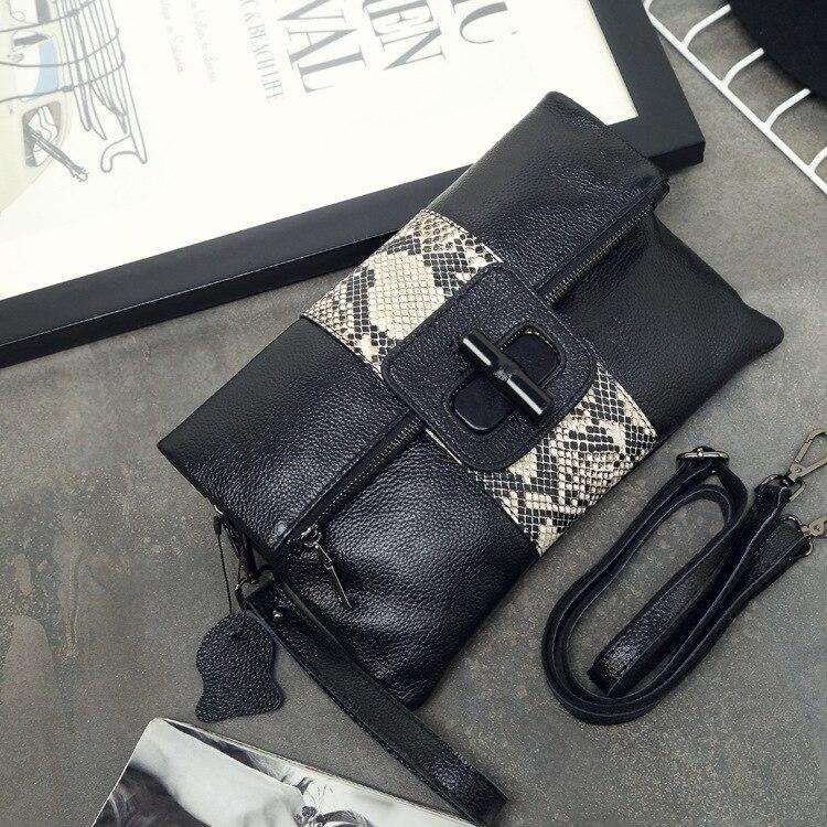 Brand Envelope Designer Women's Crossbody Bag Genuine Leather Shoulder Bags Snake Female Casual Bag Ladies Handbag Party Clutch