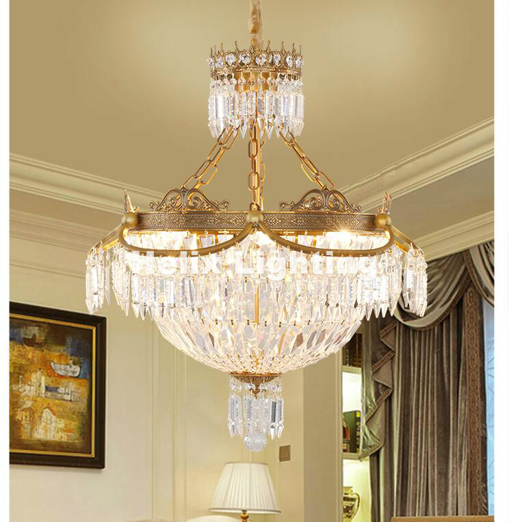 Free Shipping D60cm Modern Brass E14 LED AC Luxury Crystal Bronze Chandeliers Lighting For Living room and Restaurant Chandelier