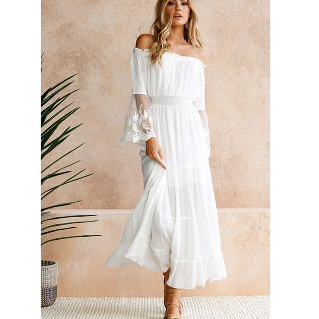 e5d194b6997 2018 Summer Sundress Long Women White Beach Dress Strapless Long Sleeve  Loose Sexy Off Shoulder Lace Boho Cotton Maxi Dress