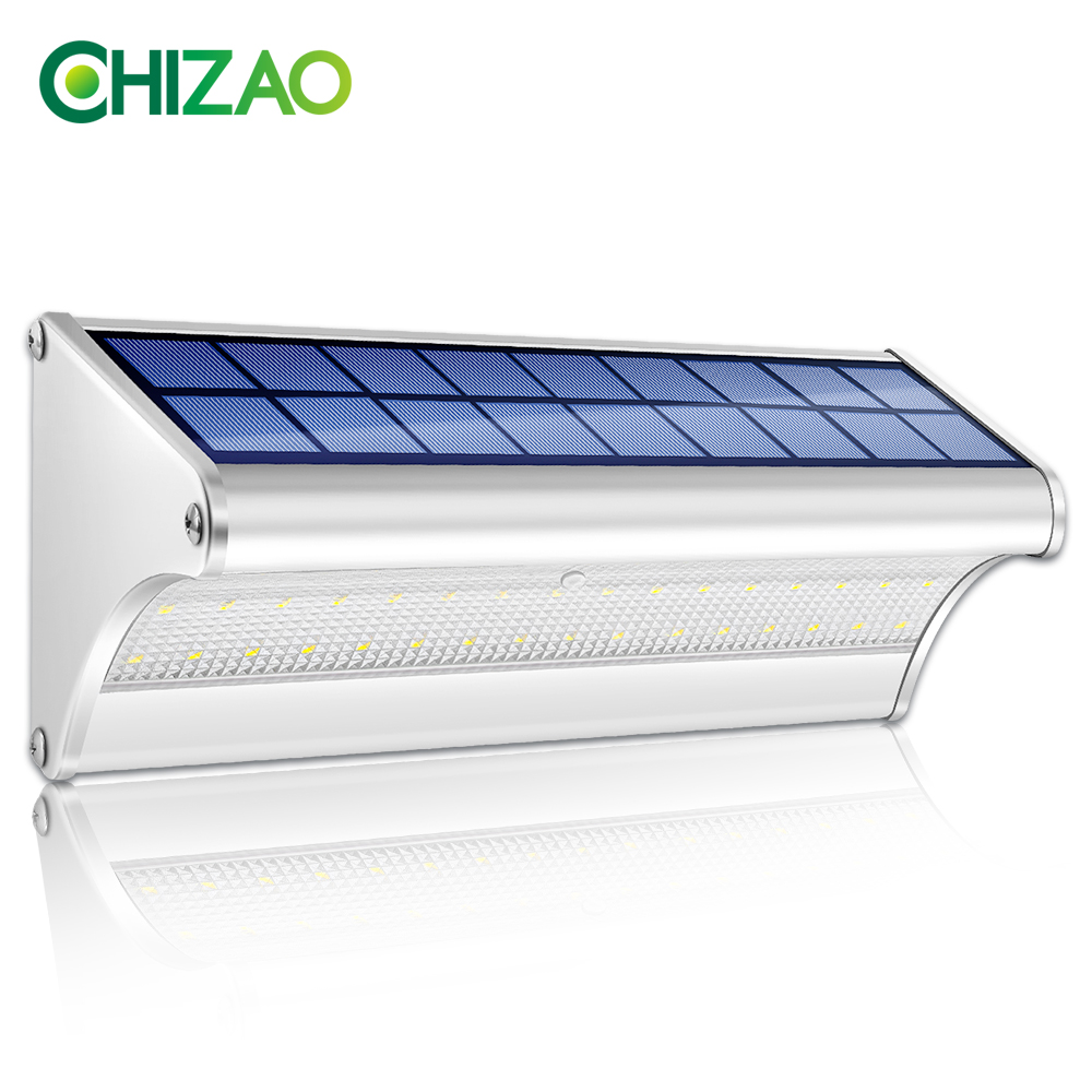 CHIZAO LED Solar Power Lamp PIR Motion Sensor Metal Solar Wall Light Outdoor Waterproof Garden Super Bright Energy Saving Lamp