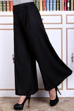 Free Shipping!Big Discount!Chinese Cotton Linen Hand-Made Painted Women's Elastic Waist Trousers Flares Peony WP0007