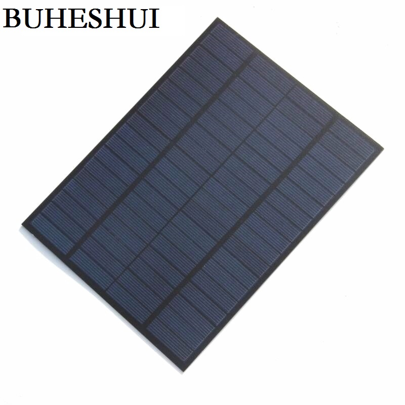 BUHESHUI <font><b>5W</b></font> 18V <font><b>Solar</b></font> Cell <font><b>Solar</b></font> Module Polycrystalline PET DIY <font><b>Solar</b></font> <font><b>Panel</b></font> System For <font><b>12V</b></font> Battery Green Power 220*165*3MM image