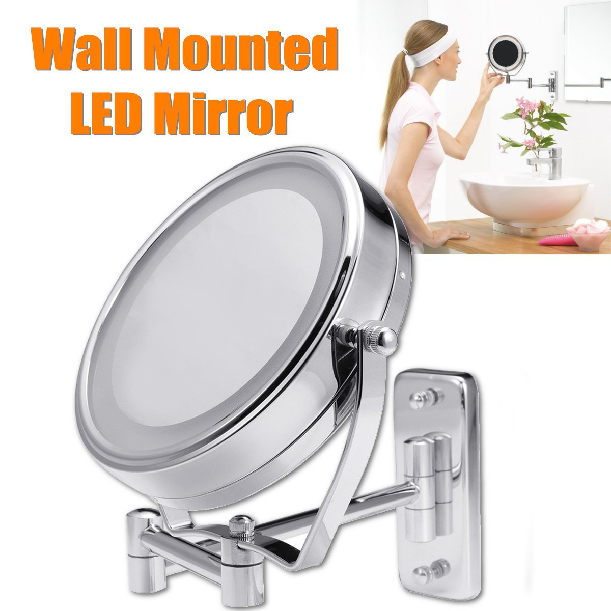 "6"" Diameter Bathroom Shaving Makeup Mirror With LED Lights Wall Mount Two Sides Extendable Rotate Cosmetic Mirror Magnifying 7X 1"