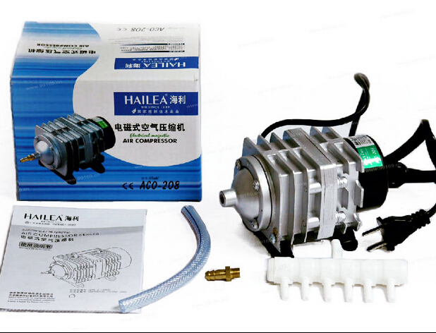 Free shipping 45L min 25W Hailea ACO 208 Electromagnetic Air Compressor aquarium air pump aquarium oxygen