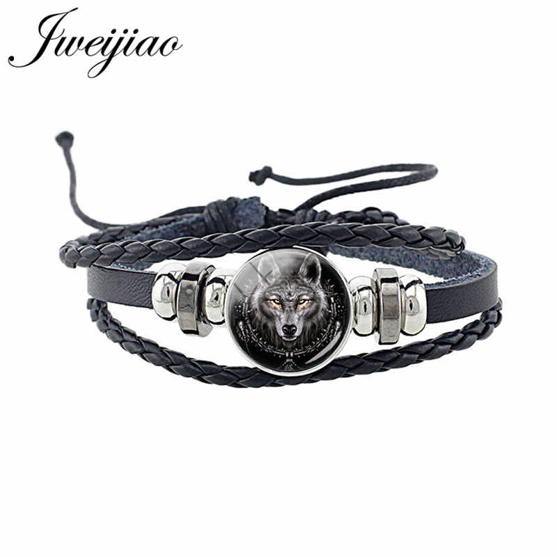 JWEIJIAO Fashion Wolf Animal Woven Leather Bracelet Glass Cabochon Charm Unisex Bracelet For Women Man Punk Jewelry Gift D1403