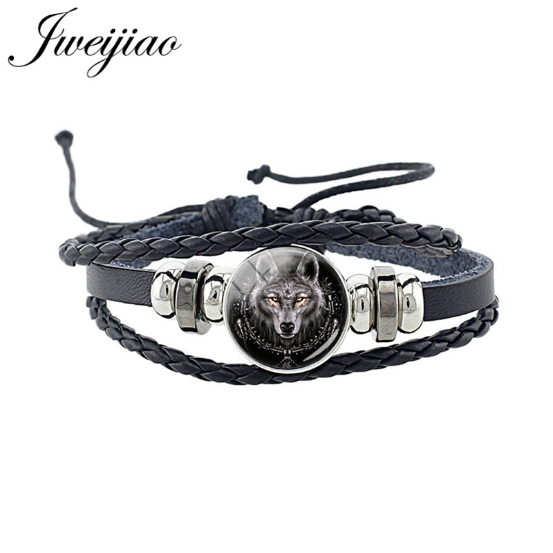 JWEIJIAO Fashion Wolf Animal Woven Leather Bracelet Glass Cabochon Charm Unisex Bracelet For Women Man Punk Jewelry Gift D1403(China)