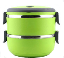 Hot! Edelstahl 2 schichten Lunchbox mit griff Thermos für Lebensmittelbehälter isolierung Student Bento box Geschirr