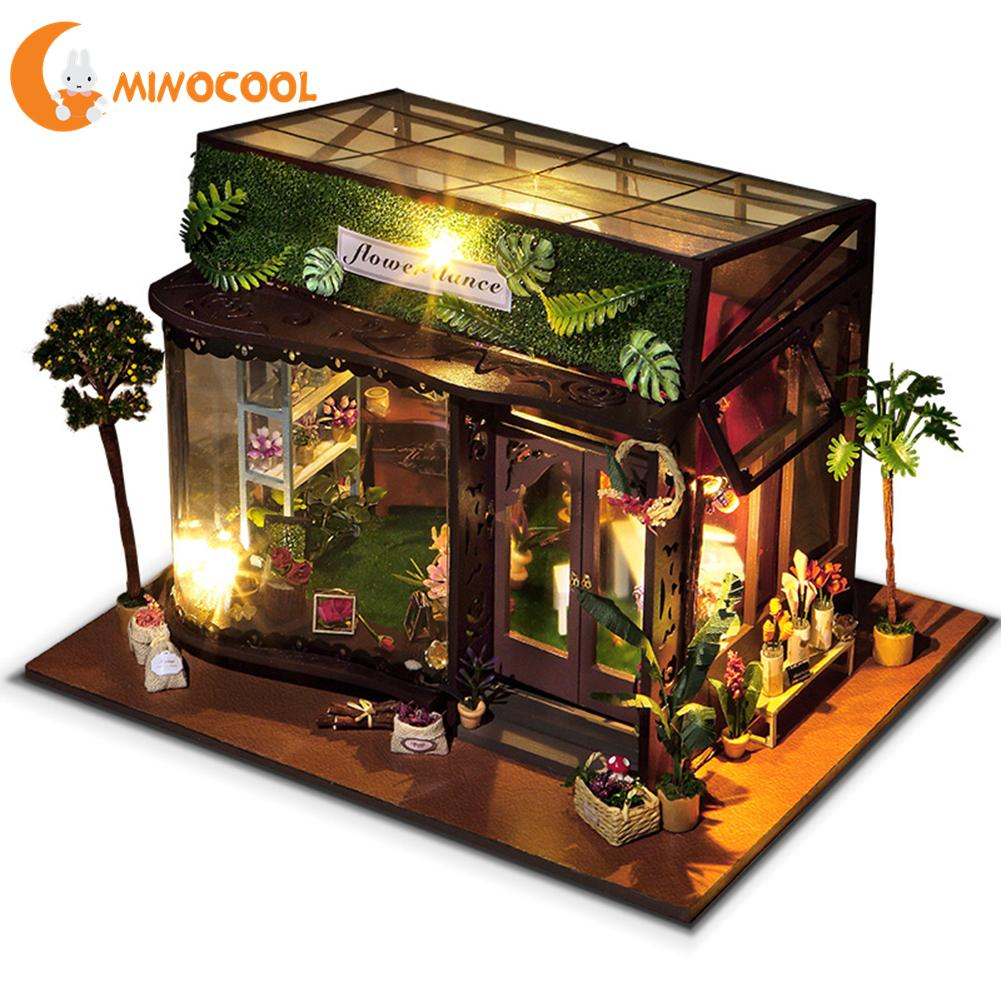 Diy Flower Hut Wooden Miniature Doll Houses Furniture Kit