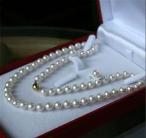 Free shipping New style Natural noble jewelry>>>>8MM White Akoya Shell Pearl Necklace + Earring Set AAA 18