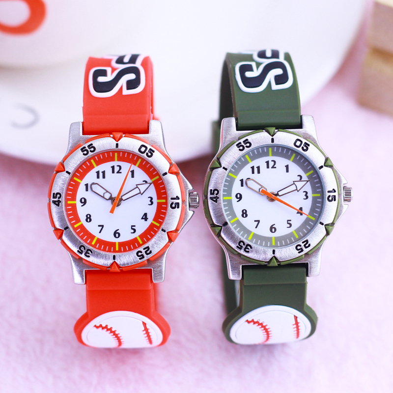 2019 WL New High Quality Children Boys Silicone Strap 3D Baseball Quartz Watches Students Fashion Electronic Wristwatches Clock