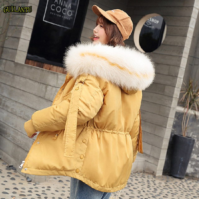 Plusขนาดหลวมลงผ้าฝ้ายแจ็คเก็ตผู้หญิงฤดูหนาวหนาParkaสั้นMujer Big Fur Hoodedหญิงเสื้อ
