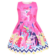 Summer Childrens Clothes Baby Girl Rose Red Cartoon Pony Dress Sleeveless Sweet Princess
