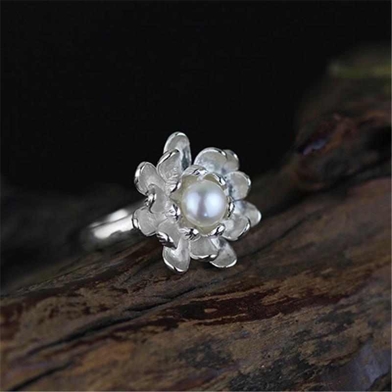 Lotus Fun Real 925 Sterling Silver Natural Pearl Handmade Designer Fine Jewelry Blooming Lotus Flower  Female Rings Bijoux